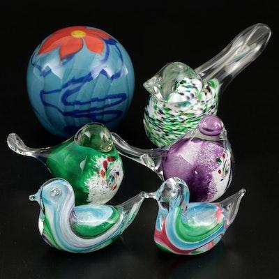 Richard Jolley Art Glass Paperweight and Art Glass Birds