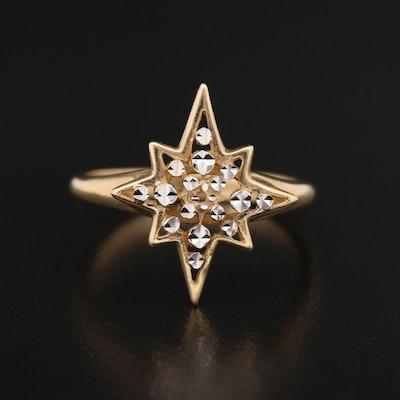 14K Starburst Two-Tone Ring