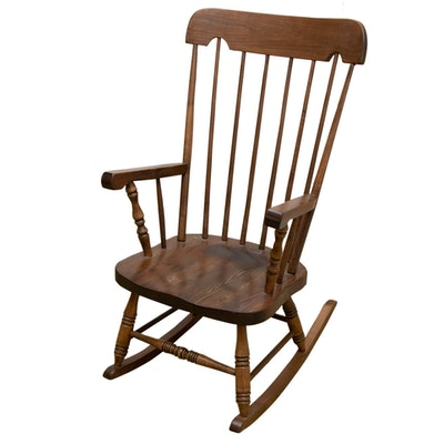 American Colonial Style Poplar and Pine Rocking Chair