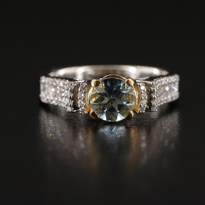 18K White Gold Aquamarine and Diamond Ring with Yellow Gold Accent