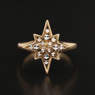 14K Diamond Cut Starburst Ring