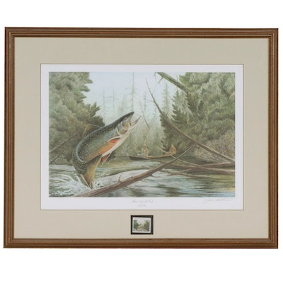 """John Ruthven Offset Lithograph """"Autumn on the Au Sable"""" with 1984 Postal Stamp"""