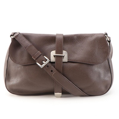 Prada Shoulder Bag in Brown Vitello Daino Leather