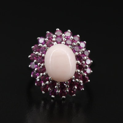 Sterling Silver Common Opal and Rhodolite Garnet Ring