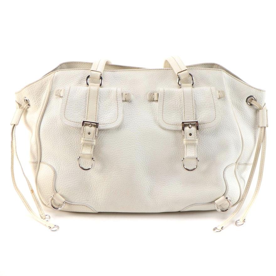 Prada Tote Bag in Bianco Vitello Daino Leather