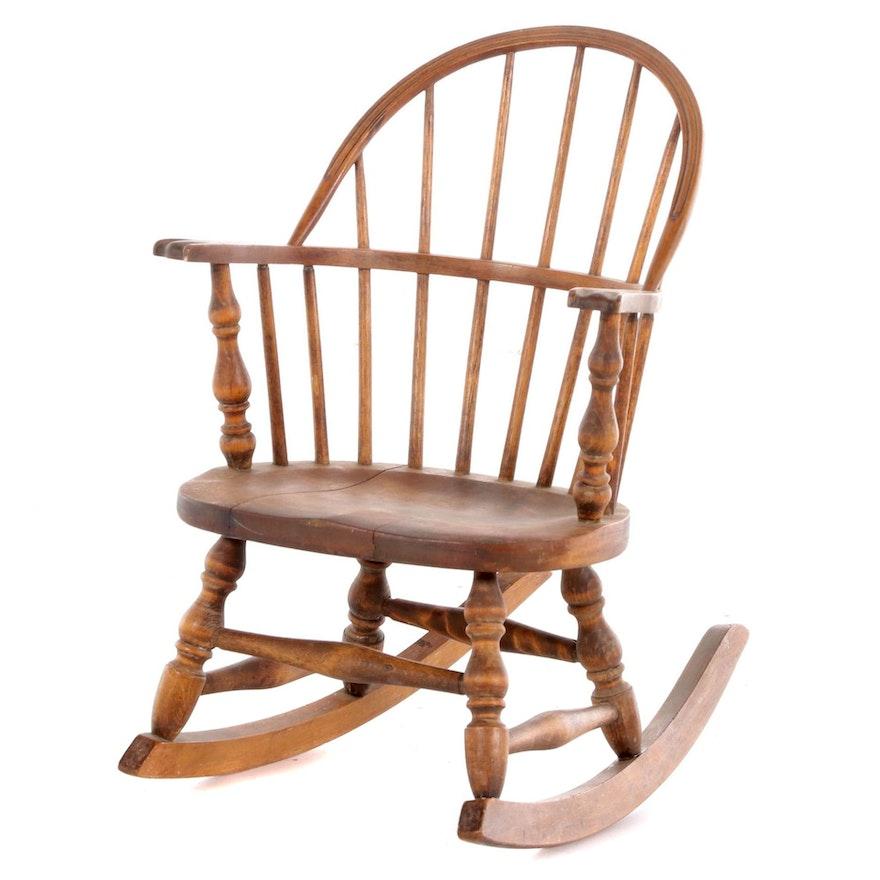 American Primitive Child's Sack-Back Windsor Rocking Armchair, 20th Century