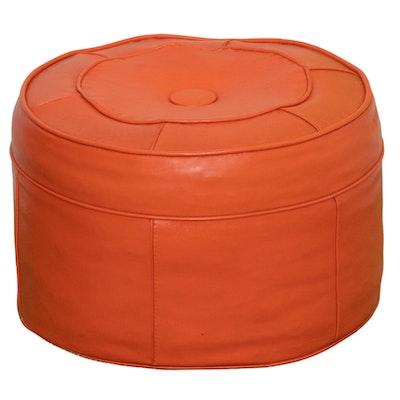 Round Orange Vinyl Ottoman