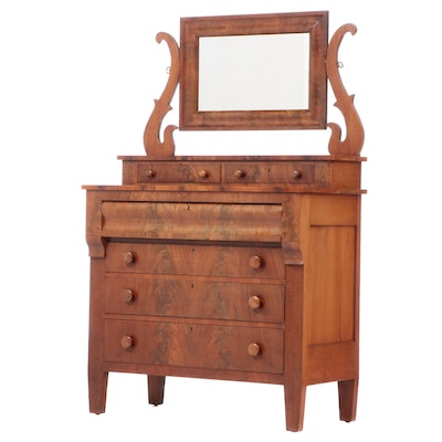 American Empire Figured Mahogany and Cherrywood Dresser, Mid-19th Century
