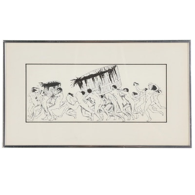 Jerry Young Pen and Ink Drawing of Figures Carrying Tubs