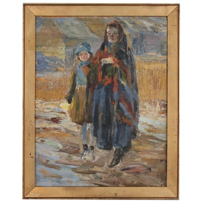 Figural Impasto Oil Painting of Two Girls, 20th Century