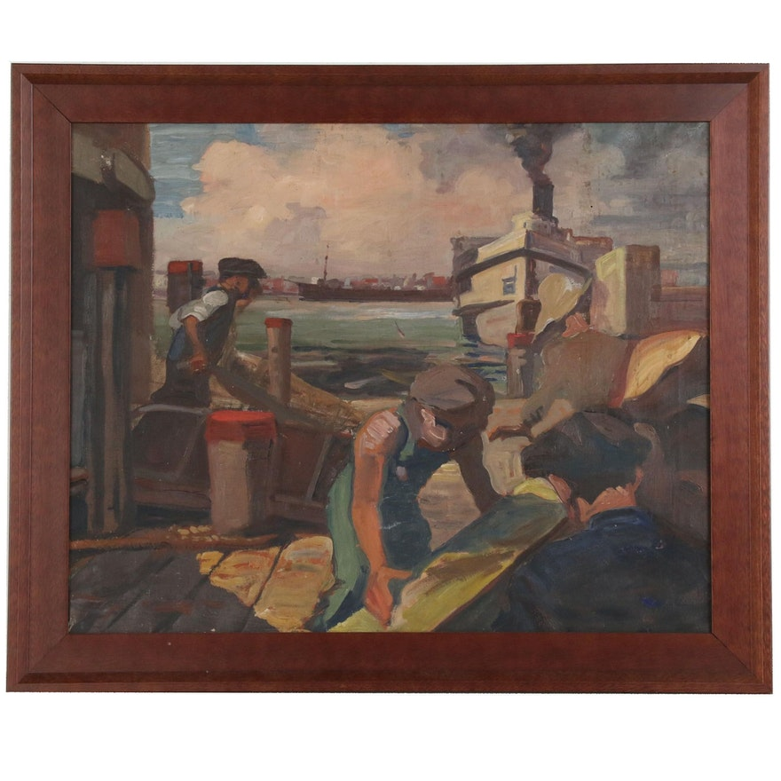 Genre Scene Oil Painting of Dock Workers
