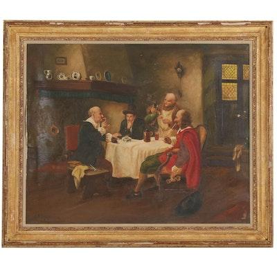 R.H. Sebastian Tavern Genre Scene Oil Painting
