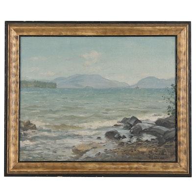 Coastal Landscape Oil Painting, Circa 1920