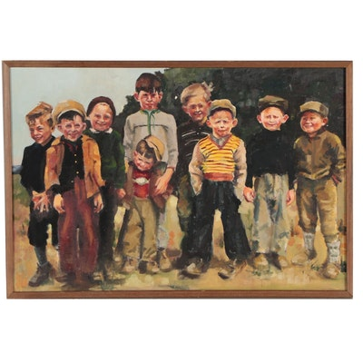 Group Portrait Oil Painting of Young Boys, Mid 20th Century