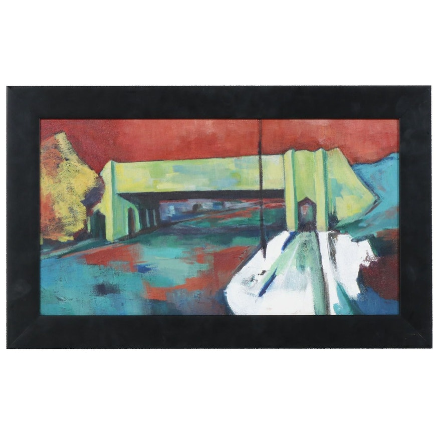"Jennifer Hughes Acrylic Painting ""Shelby Bridge"", circa 2003"