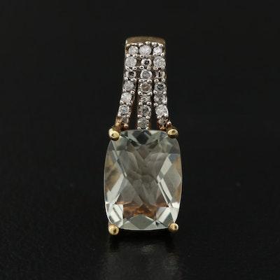 Prasiolite and Diamond Pendant