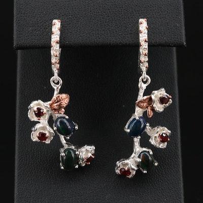 Sterling Silver Opal and Garnet Dangle Earrings