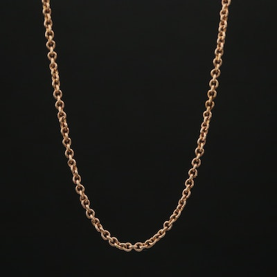 10K Rolo Chain Necklace with 9K Clasp