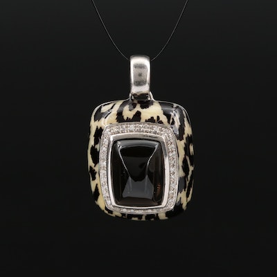 Sterling Silver Enamel, Smoky Quartz and Diamond leopard Motif Pendant