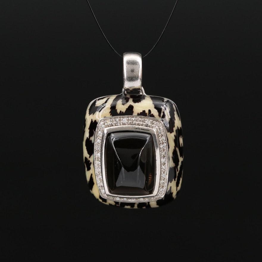 Sterling Silver Enamel, Smoky Quartz and Diamond leopard Motif Pendant