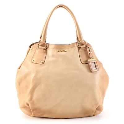 Prada Tote Bag in Gradient Tan Vitello Daino Leather