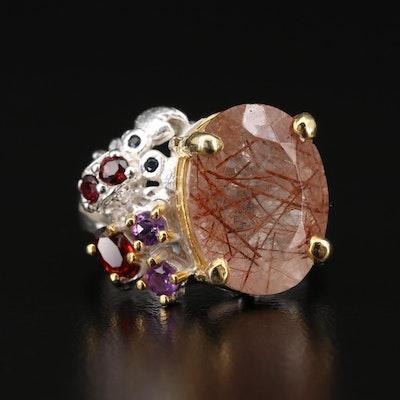 Sterling silver Sagenitic Quartz, Garnet and Amethyst Ring