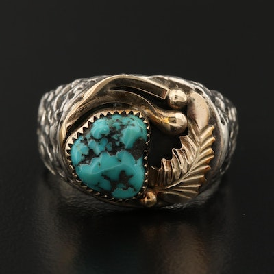 Southwestern Style Sterling Silver Turquoise Ring With 14K Accents