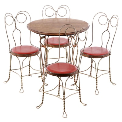 French Style Metal Ice Cream Parlor Bistro Set, Early 20th Century