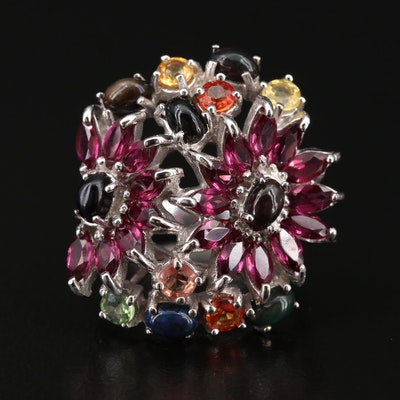 Sterling Silver Sapphire, Rhodolite Garnet and Opal Floral Cluster Ring