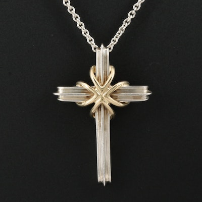 Vintage Tiffany & Co. Sterling Silver Cross Necklace with 18K Accent