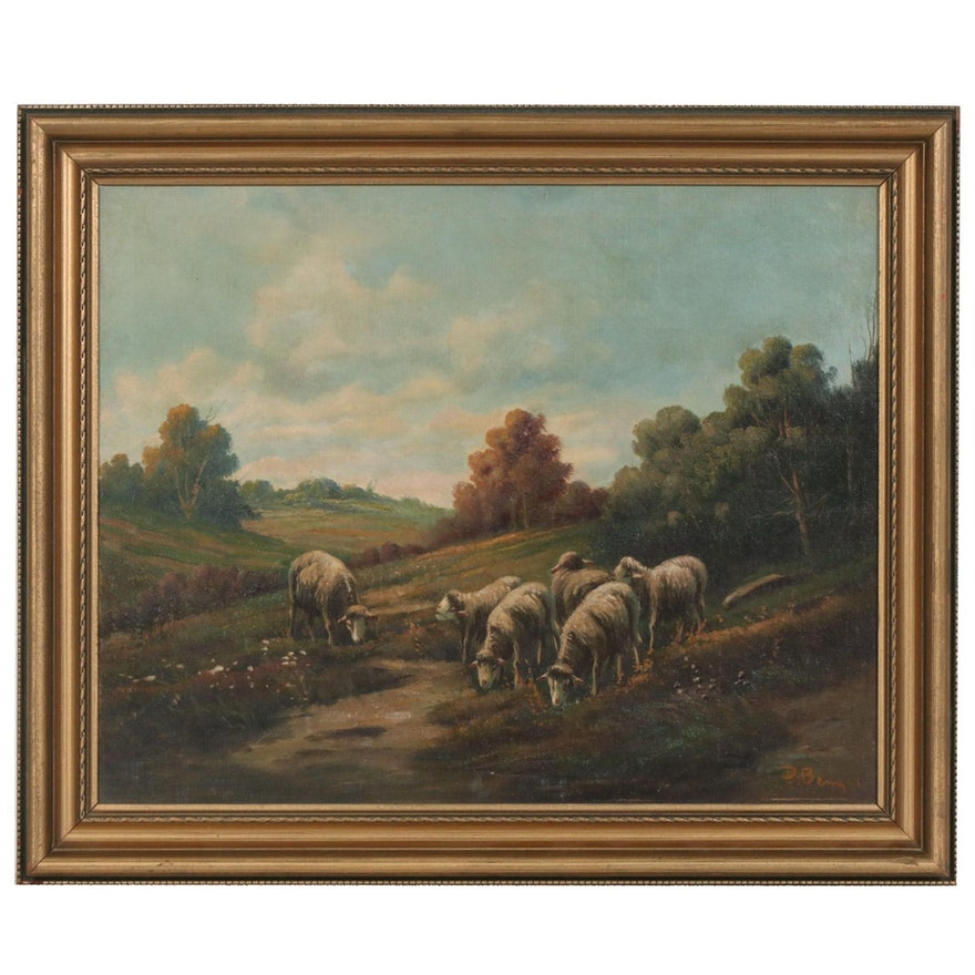 Pastoral Landscape With Sheep Oil Painting, Early 20th Century