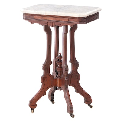 Victorian Eastlake Walnut Marble Top Center Table, Late 19th Century