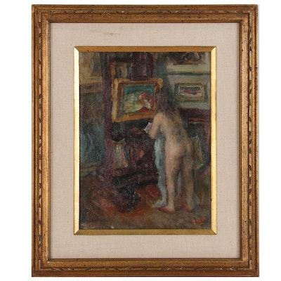 "Figural Oil Painting ""Corner of My Studio"", 1964"