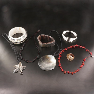 Jewelry Selection Featuring Mother of Pearl, Shell, and Glass Accents