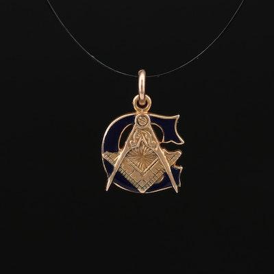 10K Freemason Emblem Pendant