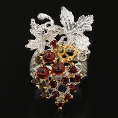 Sterling Silver Garnet, Rhodolite Garnet and Smoky Quartz Grape Bunch Ring