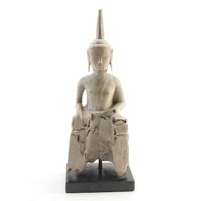 Burmese Carved Teak Wood Buddha Figure