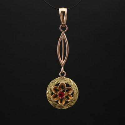 Circa 1900 Lavalier 10K Glass Pendant with Rose and Green Gold Accents
