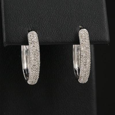 Sterling Silver Diamond Oval Hoop Earrings