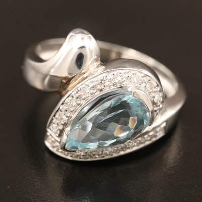 18K Aquamarine and Diamond Bypass Ring