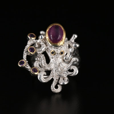 Sterling Silver Ruby, Sapphire, and Amethyst Octopus Ring