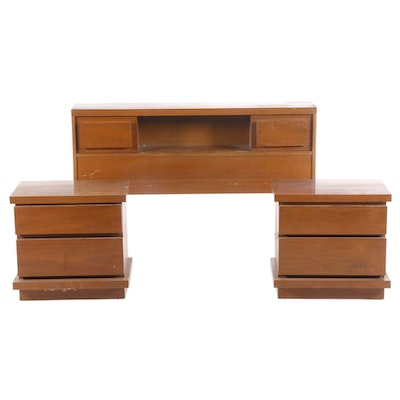 Basic-Witz Mid Century Modern Walnut Nightstands and Headboard