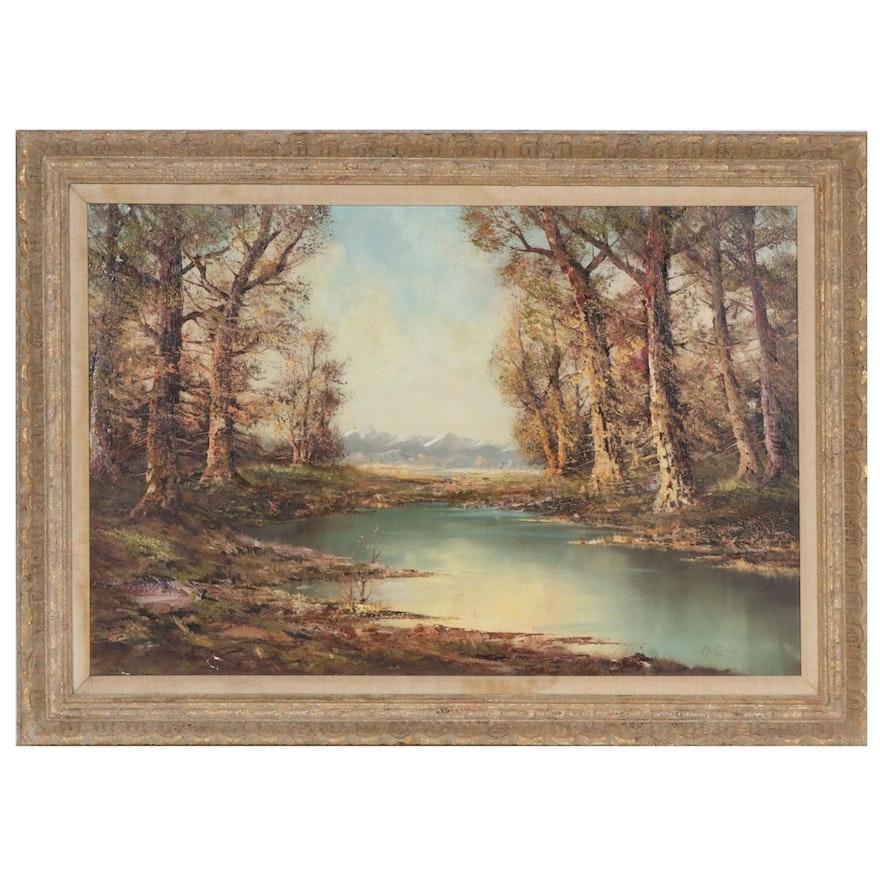 Aldo Mantovani Landscape Oil Painting, Mid-20th Century