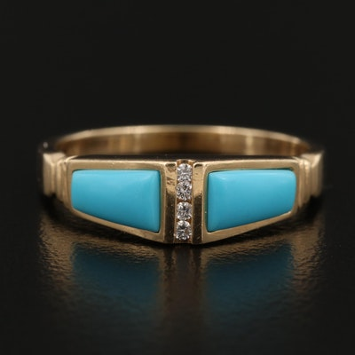 John Tolle 14K Turquoise and Diamond Ring