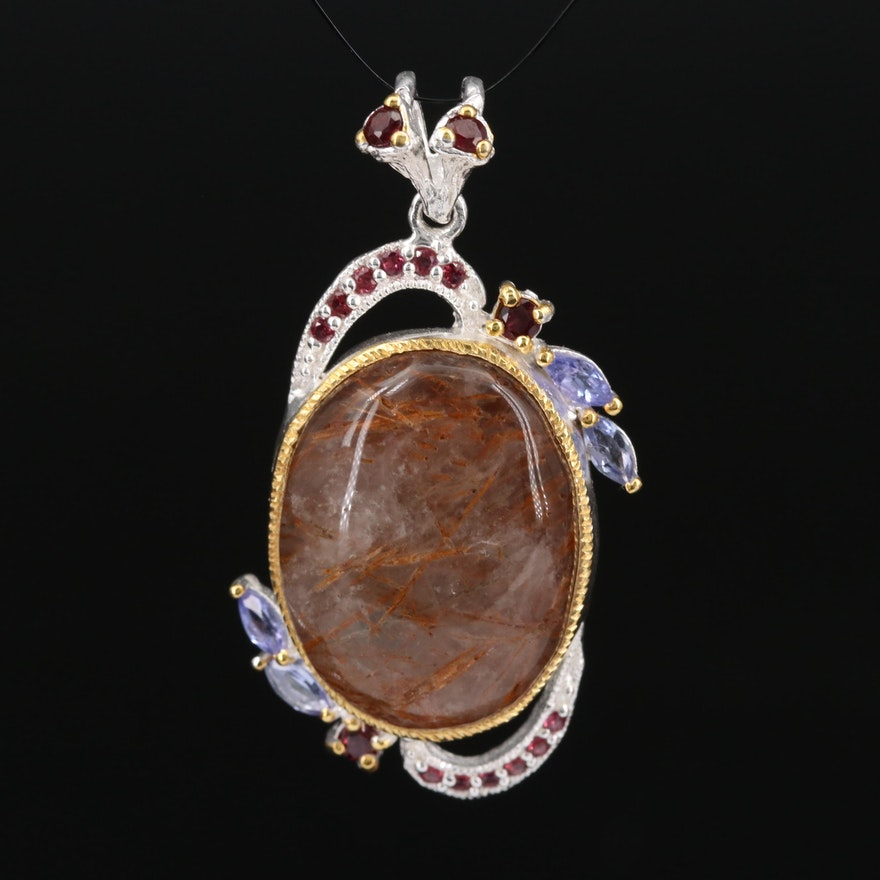 Sterling Silver Rutilated Quartz, Tanzanite and Garnet Pendant