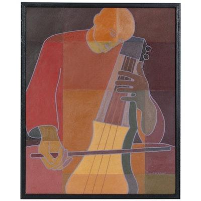 """Farnoosh Lanjani Oil Painting """"Sarangi Player"""", 2007"""