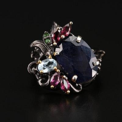 Sterling Corundum, Topaz, Garnet and Diopside Ring