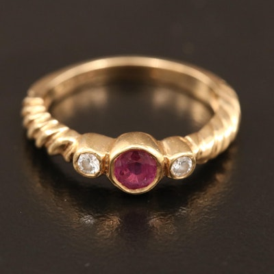 14K Bezel Set Ruby and Diamond Ring