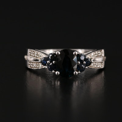 Sterling Silver Sapphire, Ruby and Diamond Ring