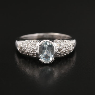 18K Aquamarine Ring with Diamond Accented Shoulders